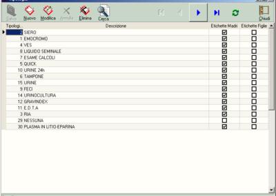 Gestione delle etichette BAR CODE su provette laboratorio analisi